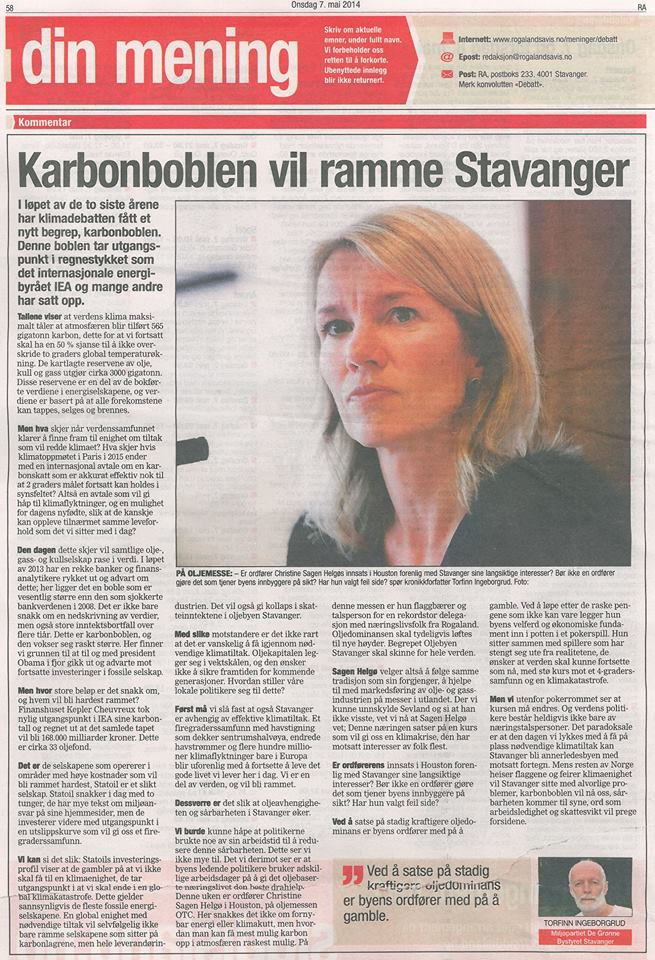 Karbonboblen truer Stavanger
